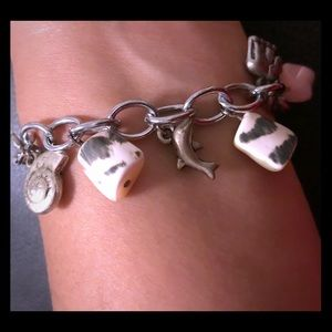 Jewelry - Charm Link Bracelet with Natural Polished Stones